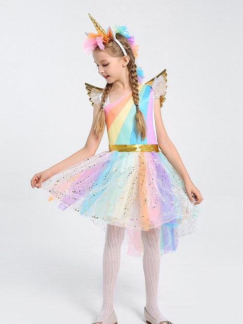 Rainbow Unicorn Glitter Dress with Unicorn Headband and Angel Wings