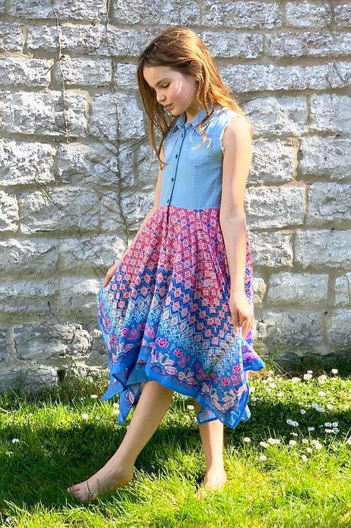 Denim Top Fuchsia Border Print Hanky Dress