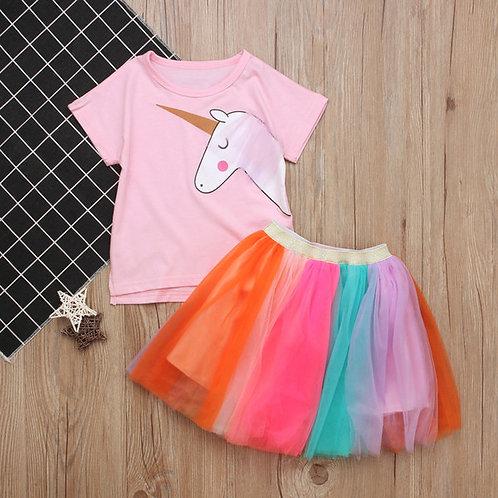 Unicorn T-Shirt and Rainbow Skirt