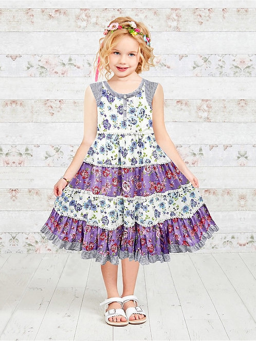 Floral Patchwork Printed Girls Pom Pom Dress
