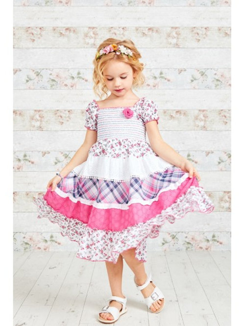 Pink Check andFloral Print Gypsy Dress