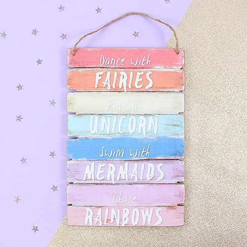 Dance with Faires, Ride a Unicorn Wall Plaque