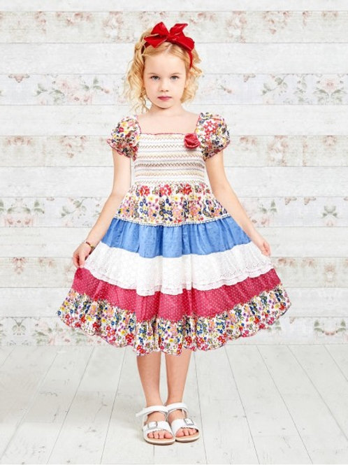 Polka Dot & Floral Printed Tiered Girls Dress
