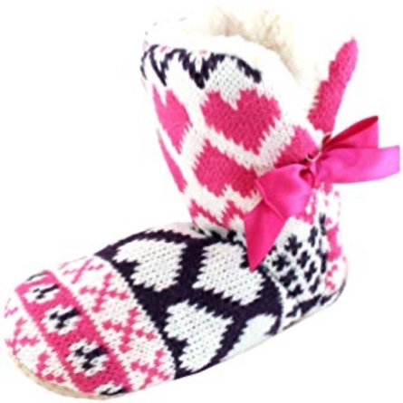 Fleece Lined Slipper Boot with Heart Design