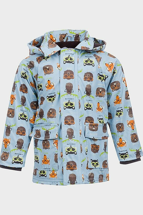 Fox and Racoon Sky Blue Coat Age 1 -2 Only