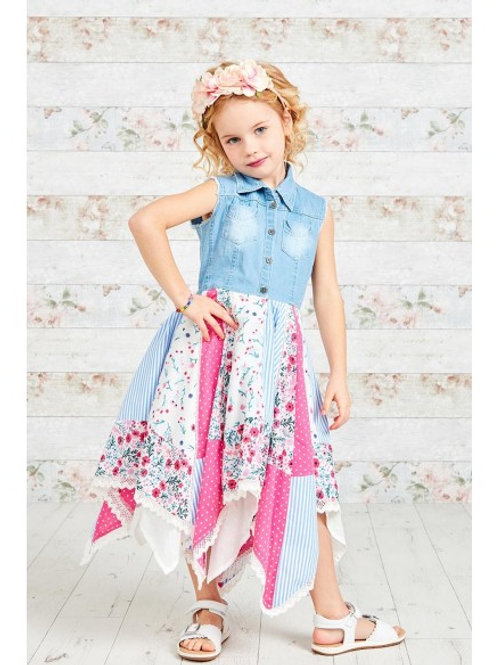 Beautiful Denim Top Patchwork Print Hanky Dress