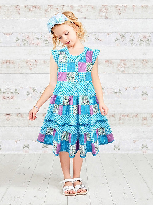 Turquoise Patchwork Girls Panel Dress