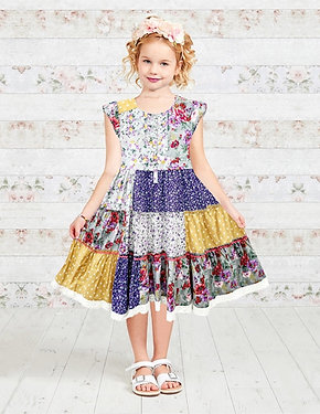 Floral and Spotty Patchwork Tiered Girls Dress
