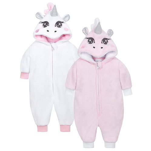 Baby Unicorn Plush Onesie in Pink or White