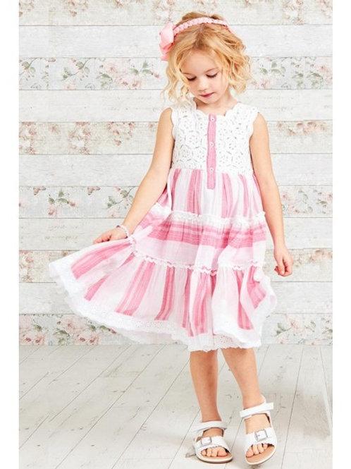 Pink Candy Stripe Crochet Lace Sun Dress