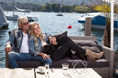 Matthias Reim mit Freundin Christin Stark, Sänger - Portrait für die Glückspost