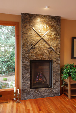 Stone surround Living Room Fireplace