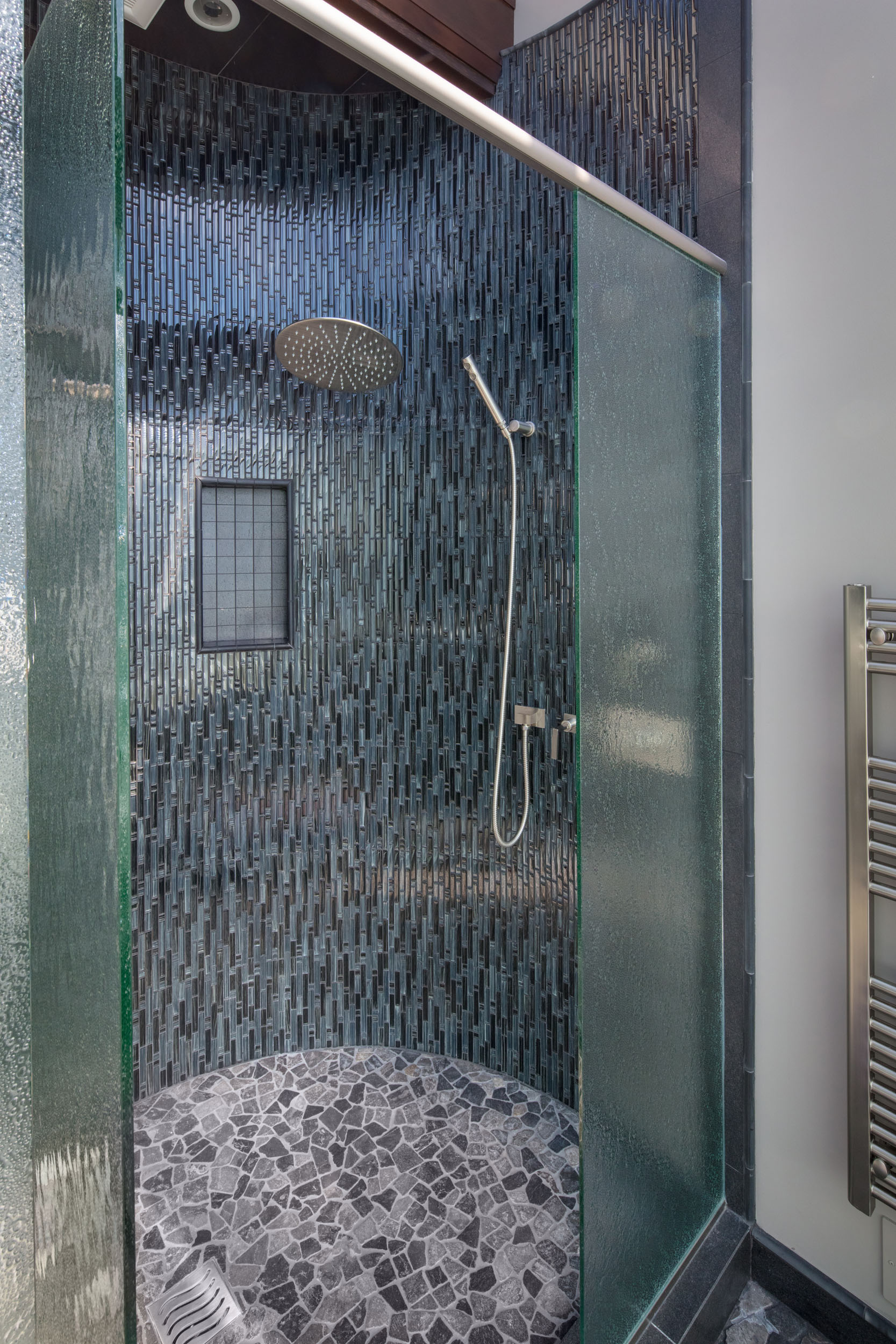 Master Bath Shower with Curved Walls