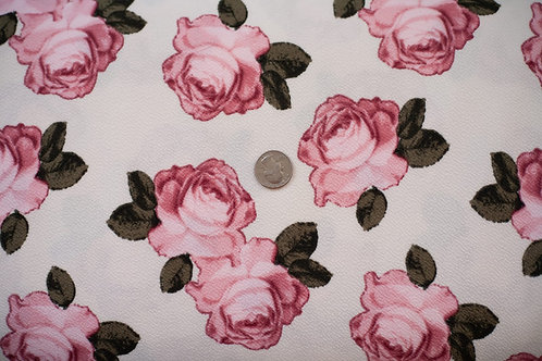Mauve Roses on Cream Liverpool \ by the half yard