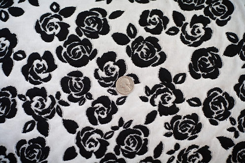 Black Roses on White Jacquard Knit \ by the half yard