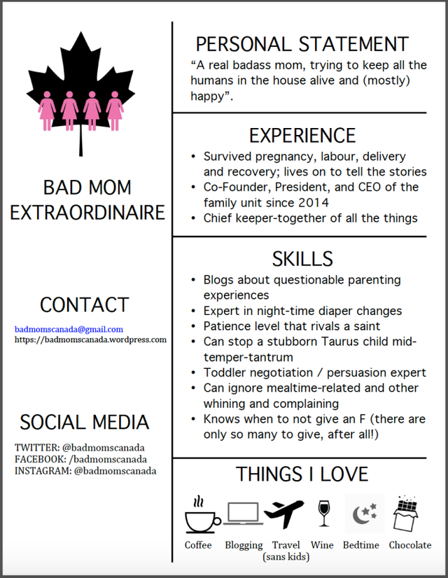Bad Moms Resume