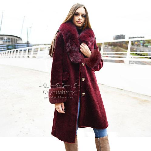 DMGT27A Fleece Coat With Fox Fur Collar and Fur Cuff