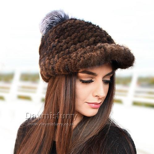 DMC85C Mink Fur Hat Winter Hat  With Silver Fox Fur Pom