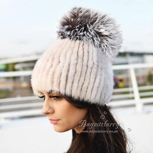 DMC56G Pearl Mink Fur Hat With Large Silver Fox Fur Pom Pom