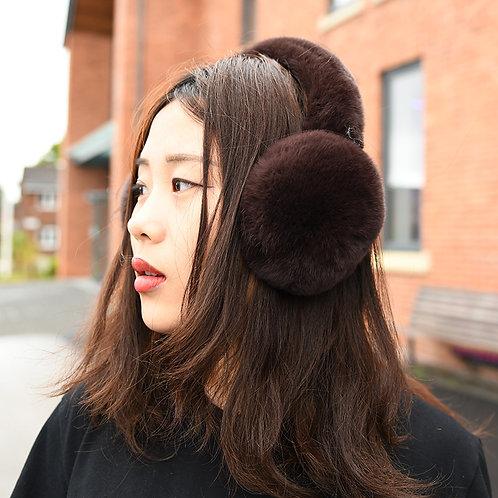 DMA40B Rex Rabbit Fur Earmuffs With Matching Fur Band In Brown