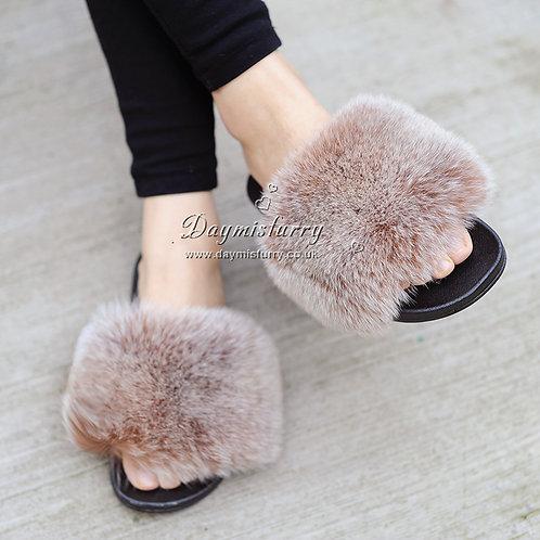 DMA96 Fox Fur Slipper - Camel Frost