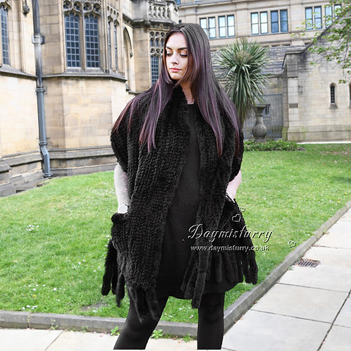 DMB01C Knitted Rabbit Fur Shawl with Fringes in Black