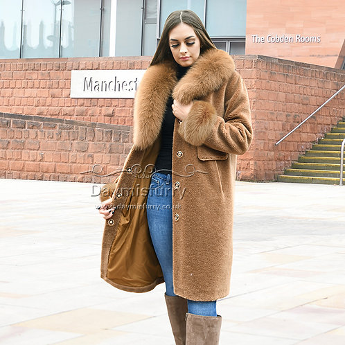 DMGT27C Fleece Wool Jacket  With Fox Fur Collar and Fur Cuff