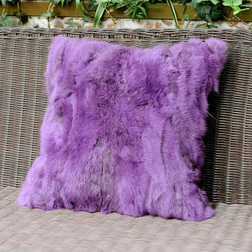 DMD17E Pieced Rabbit Fur Pillow Cover In Lilac