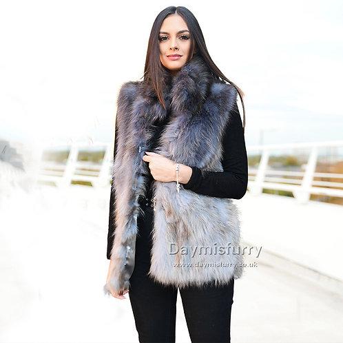 DMGB32B Ombre Raccoon Fur Vest
