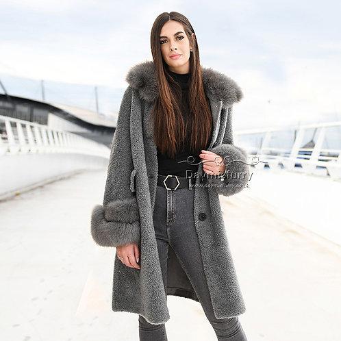 DMGT24E Fleece Wool Teddy Coat  With Fox Fur Collar and Fur Cuff