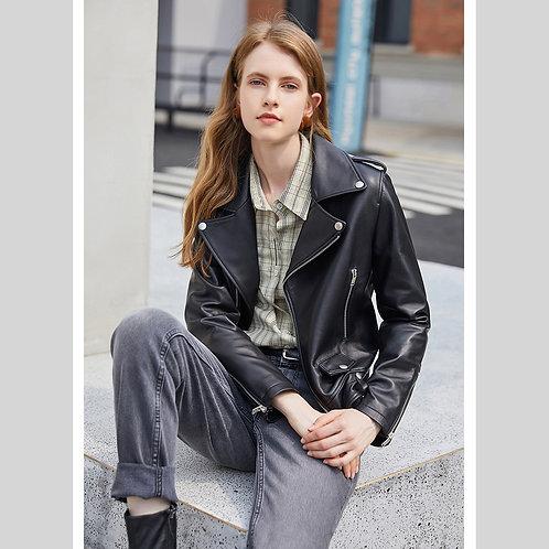 DML01A  Black Genuine Soft Lambskin Leather Motor Jacket