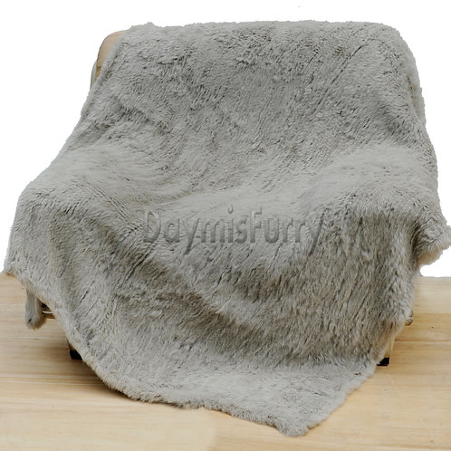 DMD10M Knitted Rabbit Fur Throw Blanket In Grey
