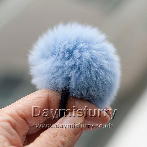 DME14A Rex Rabbit Fur Pom Pom Hair Scrunchie