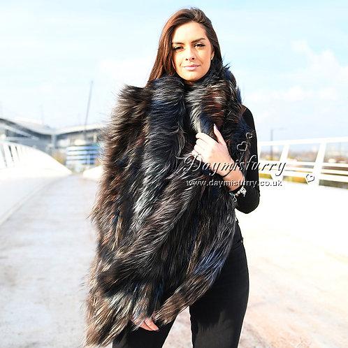 DMB93 Knit Multicolor Fox Fur Scarf Shawl