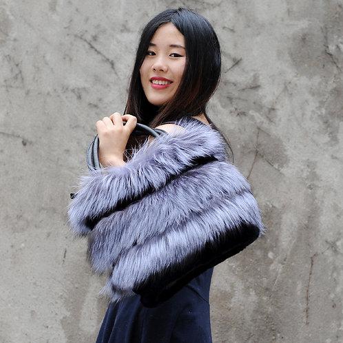DMH33A Silver Fox Fur Trim With Mink Fur Handbag with Leather Accents