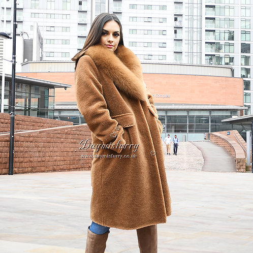 DMGT14A Camel Teddy Jacket Wool Coat WIth Fox Fur Collar