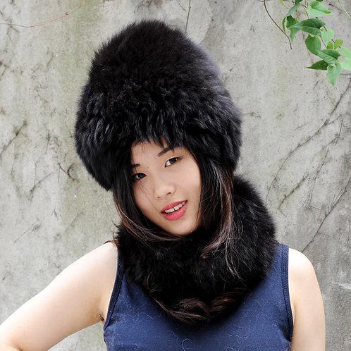 DMC01H Knit Silver Fox Fur Hat And Neck Warmer Set In Black