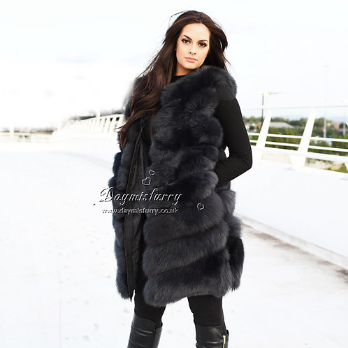DMGB239C Fox Fur Gilet / Womens Coats  - Dark Grey