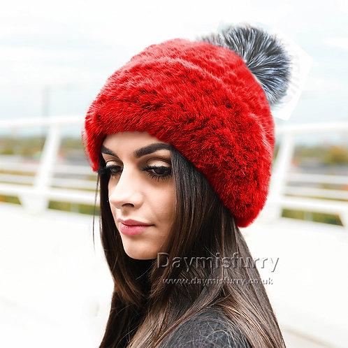 DMC239R Knit Mink Fur Beanie Hat With Fox Fur Pom Pom