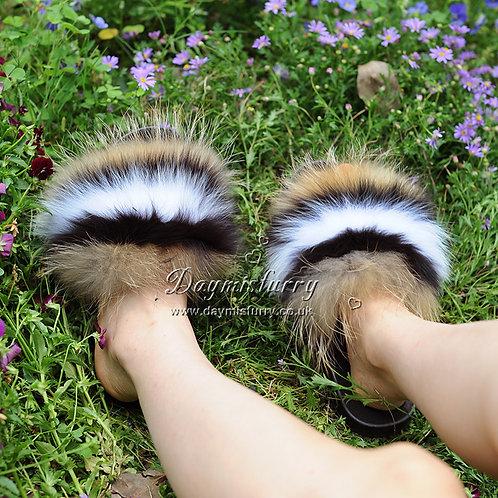 DMA70Q Fox Fur Furry Slipper