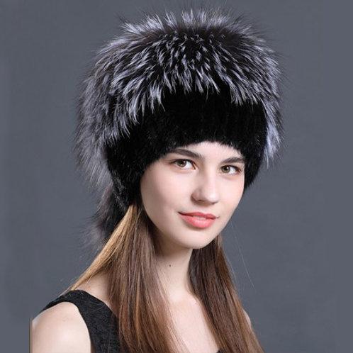 DMC57J  Mink Fur Hat With Silver Fox Fur Top