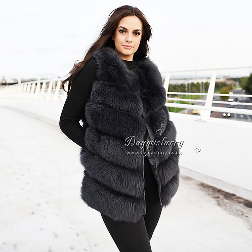 DMGB04 Fox Fur Gilet in Charcoal Gray