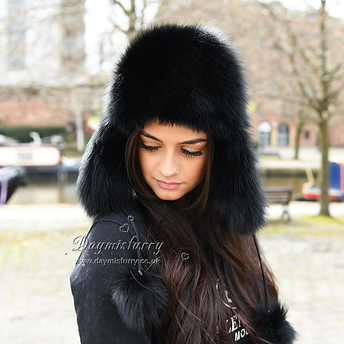 DMC38B Black Fox Fur and Waterproof Fabric Russian Fur Hat