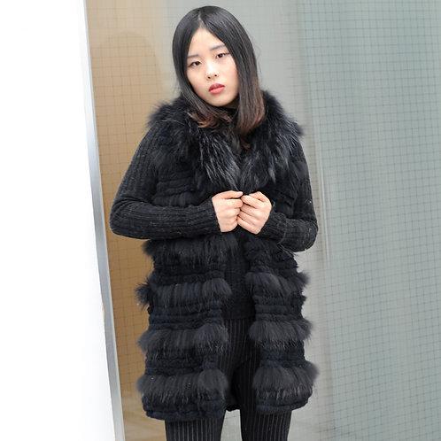 DMGB224D Rabbit Fur Vest With Raccoon Fur Trim in Black