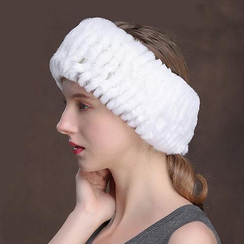 DME38H White Rex Rabbit Fur Headband / Fur Snood
