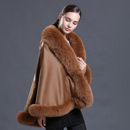 DMBP39E Pashmina Travel Shawl with Fox Fur Trim