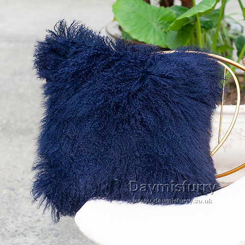 DMD04R Navy Mongolian lamb Fur Pillow Case / Cushion Cover