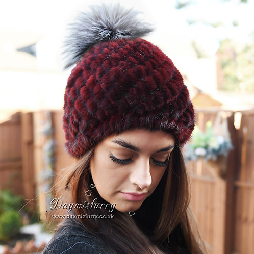 DMC206H Mink Fur Beanie Hat With Silver Fox Fur Pom Pom