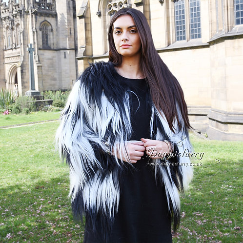 DMGA24 White and Black Goat Fur Jacket