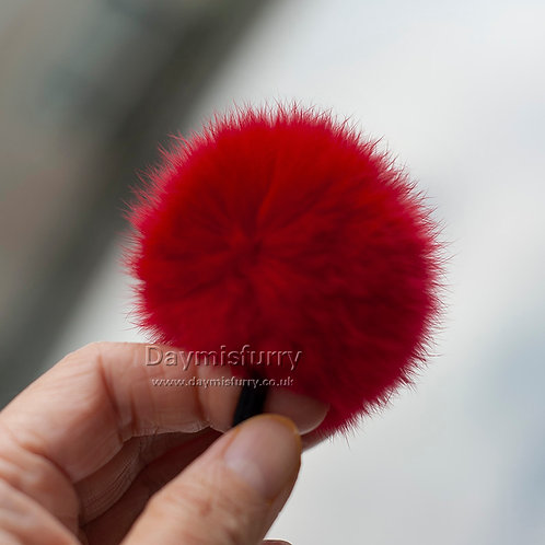 DME14D Rabbit Fur Pom Pom Scrunchie Hair Band